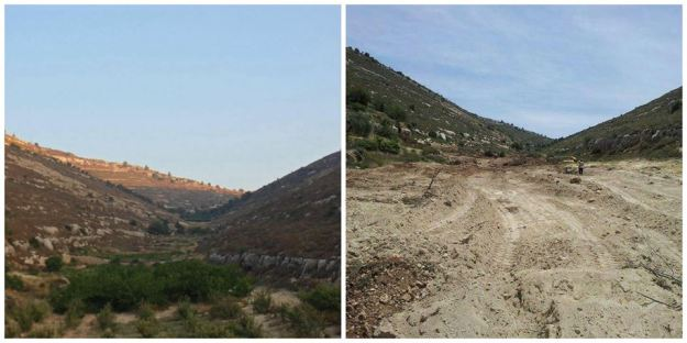 The Nassar family farm, before and after its destruction by the Israeli military